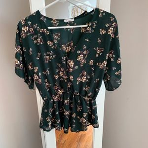 Hunter Green Floral Blouse